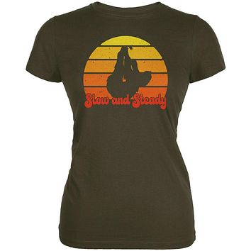 Sloth Slow and Steady Retro Sunset Juniors Soft T Shirt