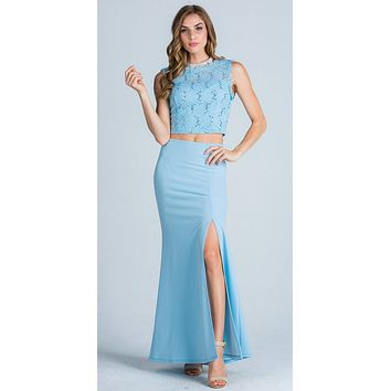 Blue Sleeveless Crop Top Long Two-Piece Prom Dress with Slit