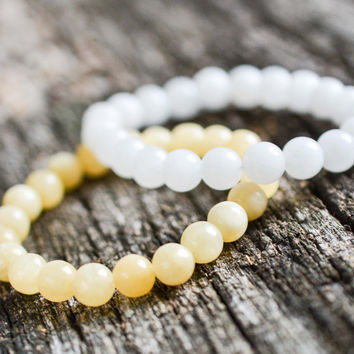 8mm Jade Bracelet Set White & Yellow Bead Bracelets Gemstone Bracelets Womens Mens Bracelets Yoga Bracelets Stretch Bracelets Gifts
