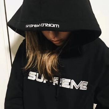 shosouvenir ¡êo Supreme Fashion Embroidered tea red hooded sweater