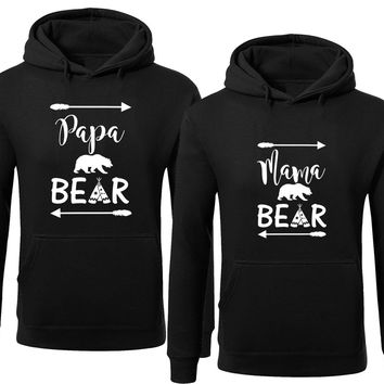 Bear Family Hoodie for Mama Bear & PAPA Bear Pullover Sweater-Black -Price for 1
