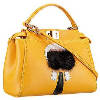 Fendi Peekaboo Karlito Capsule Detail Yellow Bag