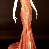 JOHN GALLIANO-Spring, 1999 Pink & Gold Brocade Bias Evening Gown, Size-8