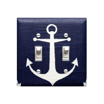 SALE Double Navy Blue Anchor Light Switchplate Cover / Baby Boy Girls Nautical Nursery Decor / Bathroom Sea Switch Plate / Premier Prints