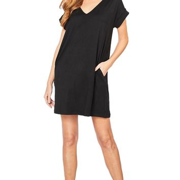 Entro Solid Black V-Neck Dress