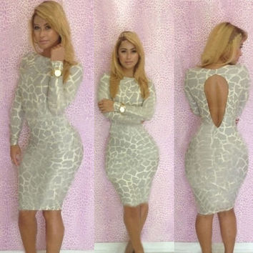Lady Ivory Leopard Women Sexy Club Backless Floral Body con Stretch Dress S-L = 5738834305