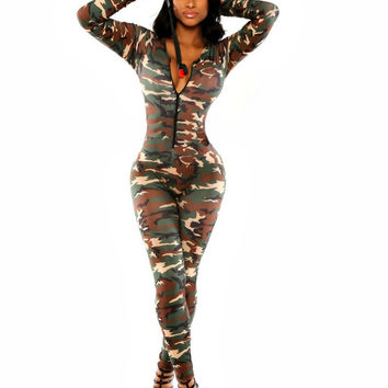 Camouflage Print Long Sleeve Bodycon Jumpsuit