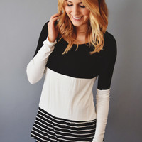 Lace and Stripes Tunic Black