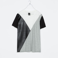 FAUX LEATHER COMBINATION T-SHIRT WITH SEAMS