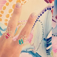 """Rings """"Gemstoned Pineapple"""" (14K Gold Filled or Sterling Silver), Tropical Jewelry, Beachy, Turquoise, Coral, Pearls, Handmade in Hawaii"""