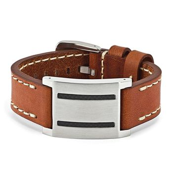 Mens Brown Leather, Carbon Fiber & Stainless Steel ID Buckle Bracelet
