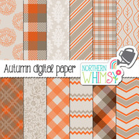 Autumn Digital Paper – orange and grey digital papers - autumn plaid and checks - fall digital paper - printable paper - commercial use