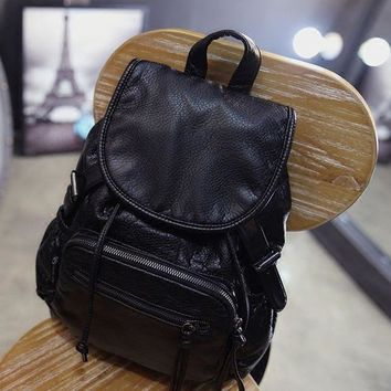 LMFON1O Day First Black Soft Leather Vintage Style Backpack