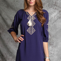 Navy Tunic with White Embroidery