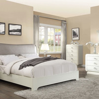 Acme 20390Q 5 pc Bellagio ivory high gloss finish wood faux leather queen bedroom set