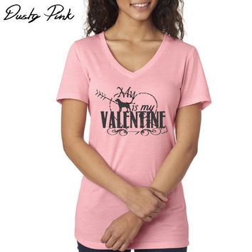 My Labrador Retriever is my Valentine - Women's V-Neck - Black Lab - Yellow Lab - Chocolate Lab