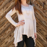 Taupe Flowy Top
