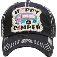 Happy Camper Vintage Baseball Cap Hat
