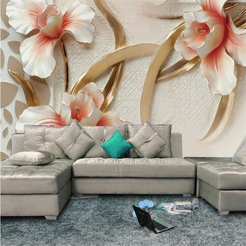 Custom 3D Photo Wall Paper Relief Lily Stylish Minimalist Modern European Large Mural For Living Room Wallpaper 3D Painting