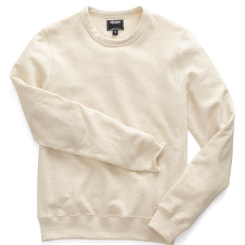 Leather Patch Sweatshirt in Ivory