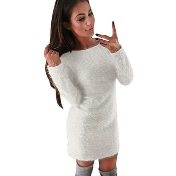 Winter Women Casual Solid Fleece Warm Mini Dresses Autumn Ladies Long Sleeve Simple Design Sexy Hip Package Party Dress