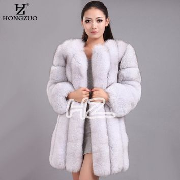 2018 High Imitation Women's Fur Coats Faux Fur Coat Female Artificial Fox Fur Jacket Winter Warm Long Overcoat 4XL PC240