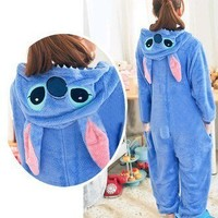 Fashion Unisex Animal Hoodie Kigurumi Pajamas Cosplay Costume Onesuit Pink Blue