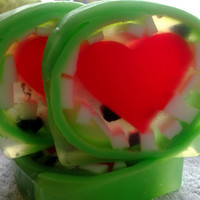 Watermelon Fruit Soap Bar, glycerin, heart, green, red, gift. Soap Art
