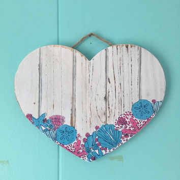Lilly Pulitzer inspired wooden plank heart