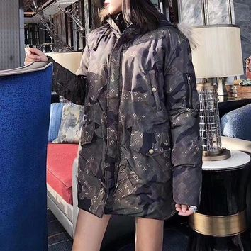 DCCKH3L Louis Vutitton x Supreme' Women Fashion Camouflage Letter Logo Long Sleeve Fur Collar Hooded Cotton-padded Clothes Coat