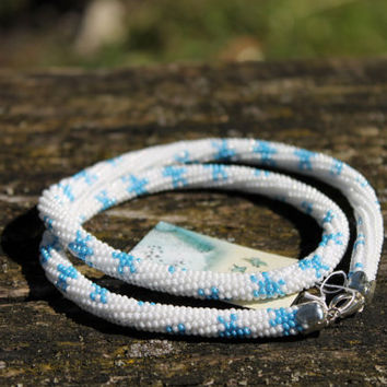 "Beaded rope crochet "" snowflakes"" pattern, Beaded rope necklace , white, blue color, Handmade jewelry, Gift for her, Beadwork"