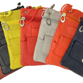 Elegance Look Leather Cross Body Bag Leather Shoulder Purse w Zipper Pocket Different Colors 1410 (C)