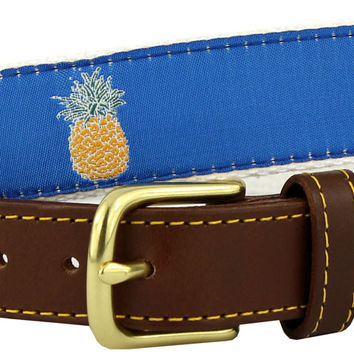 Pineapple Leather Tab Belt in Blue Ribbon with White Canvas Backing by Knot Belt Co.