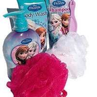 Frozen Elsa, Anna & Olaf Bath & Body Set (Body Wash, Shampoo, Hand Soap & 2 Bath Sponges)