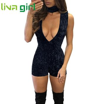 Sexy Skinny Velvet Playsuit Women Jumpsuit Solid Deep V-Neck Jumpsuit Backless Leotard Female Fashion Femme Romper Dec23