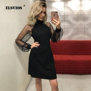 ELSVIOS Sexy Women Mesh Sleeve Dress 2018 Autumn Applique Contrast Form Fitting Solid Dress Long Sleeve A Line Mini Party Dress
