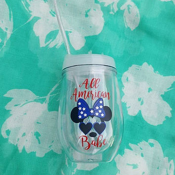 Fourth Of July Cup, 4th Of July Tumbler, Minnie Mouse Disney Tumbler, Patriotic Tumbler, Independence Day, Glitter Tumbler, Disney Tumbler