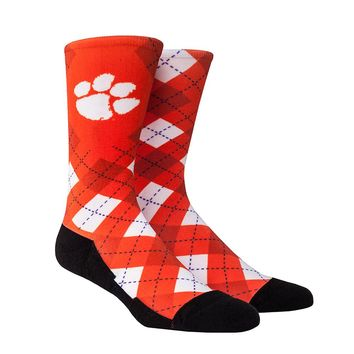 Rock Em Elite Clemson HyperOptic Argyle NCAA Licensed Crew Socks (L/XL)