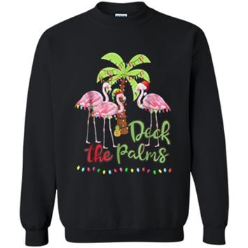 Deck the Palms Flamingo Christmas Tee - Vacation Family Tee Printed Crewneck Pullover Sweatshirt