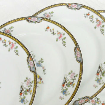 Antique Noritake Pheasant Dinner Plates, Set of 4, Tea Party Plates, Shabby Plates, Cottage Style, Weddings, Baby Shower, Ca. 1921