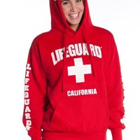 Official Lifeguard Ladies California East Coast Hoodie Red Small