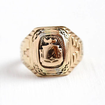 Vintage Class Ring - 10k Rosy Yellow Gold Filled & Silver Sterling Signet - Art Deco Size 5 1/4 Dated 1937 Signed Balfour Education Jewelry