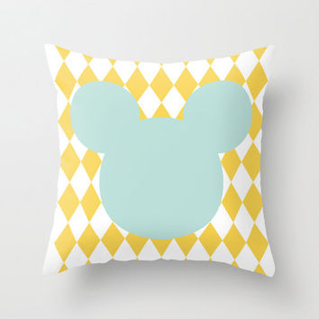 Pillow Cover, Mustard Yellow Argyle Pillow, Throw Pillow, Nursery Room Pillow, Mickey Mouse Pillow,Decorative Pillow, Home Decor, Mint