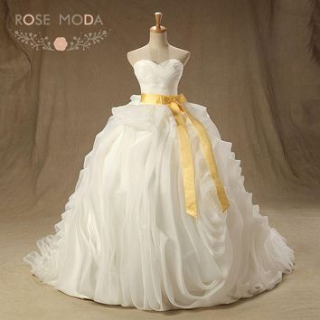 Rose Moda 3D Ruffled Organza Wedding Ball Gown with Gold Sash Lace Up Back Plus Size Wedding Dress for Church Real Photos