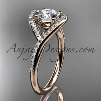 "14kt rose gold diamond wedding ring, engagement ring with a ""Forever One"" Moissanite center stone ADLR383"