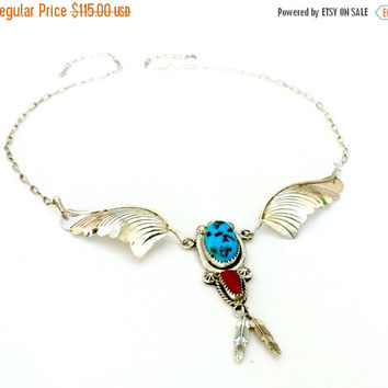 Navajo Sterling Silver Necklace, Turquoise and Coral Cabochons, Lariat Y Necklace, Stamped Metal Details, Artisan Handcrafted