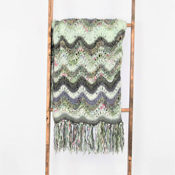 Unique Handmade Hand Knit Blanket Afghan Throw Mint Purple Wool Mohair Knitted Afghan with Fringe Bohemian Home Decor Variegated Stripe