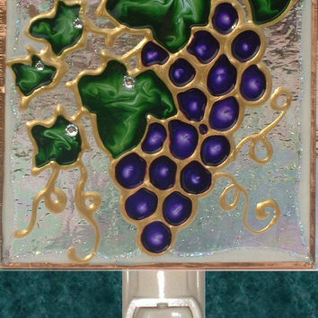 Grapes Night Light Hand Painted Purple Wine Vineyard Fruit Tuscan Kitchen Decorative Nightlight Art Stained Glass Tuscan Wall Decor