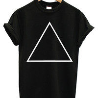 Harry Potter Deathly Hallows Logo Cotton Short Black T Shirt - triangle Only