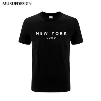 2017 New York Soho Letter men tshirts Cotton Casual Funny T Shirt For man Top Tee Hipster Black White Gray New York Soho MX53224